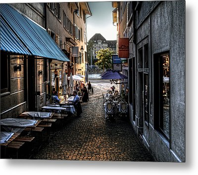 Metal Print featuring the photograph Zurich Old Town Cafe by Jim Hill