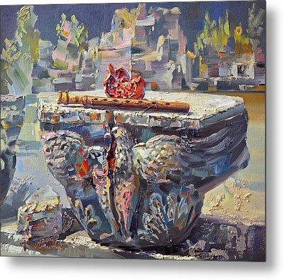Zvartnots Eagle Duduk And Pomegranate Metal Print by Meruzhan Khachatryan
