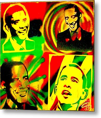 4 Rasta Obama Metal Print by Tony B Conscious