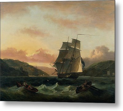 A Brigantine In Full Sail In Dartmouth Harbour Metal Print by Thomas Luny