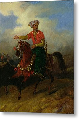 An Ottoman On Horseback  Metal Print by Charles Bellier