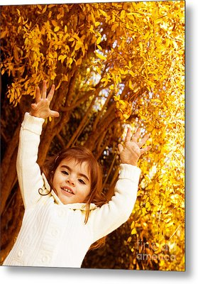 Baby Girl In Autumn Park Metal Print by Anna Om