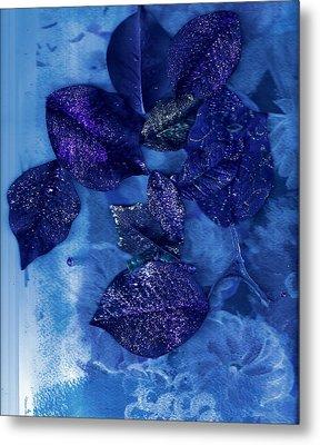 Blue Leaves In Memory  Metal Print by Anne-Elizabeth Whiteway