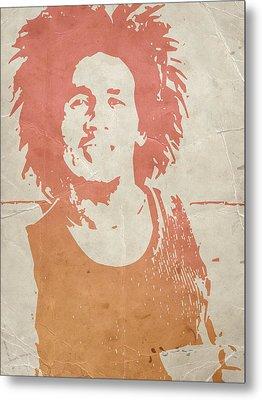 Bob Marley Brown Metal Print by Naxart Studio