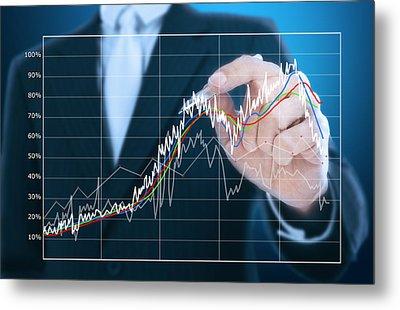 Businessman Writing Graph Of Stock Market  Metal Print by Setsiri Silapasuwanchai