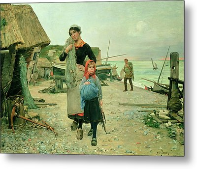 Fisherfolk Returning With Their Nets Metal Print by Henry Bacon