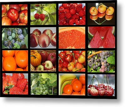 Fruits Collage Metal Print by Yumi Johnson