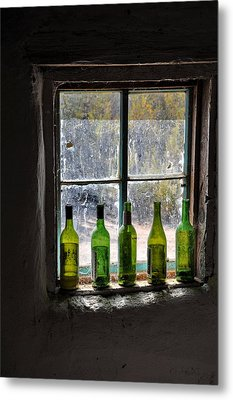 Green Bottles In Window Metal Print