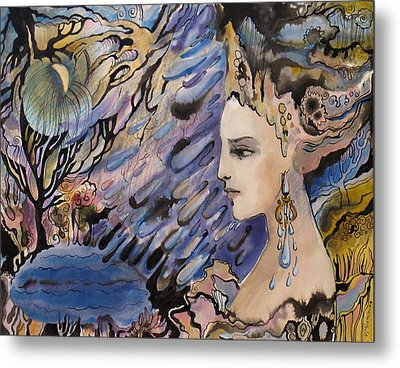 Metal Print featuring the painting  I'd Like To Draw This Dream With Wind by Valentina Plishchina