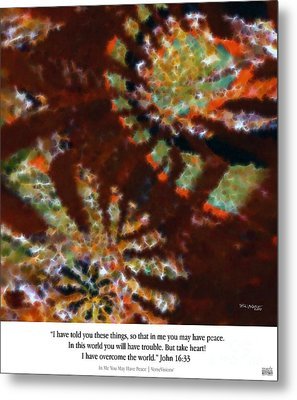 In Me You May Have Peace. Christian Art Poster Metal Print by Mark Lawrence
