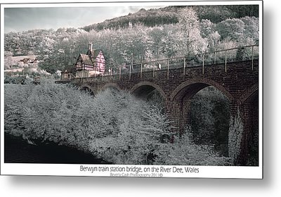 Metal Print featuring the photograph  Infrared Train Station Bridge by Beverly Cash