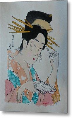 Japan Wood Block  Painting Metal Print by Robert Tarzwell