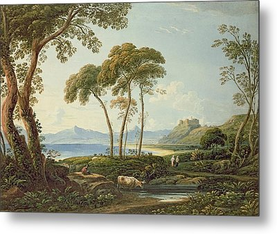 Landscape With Harlech Castle Metal Print by John Varley