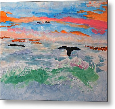 Metal Print featuring the painting  Misty Sea At Sunset by Meryl Goudey