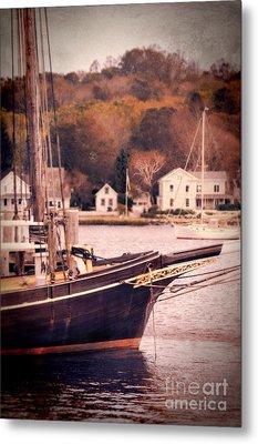Old Ship Docked On The River Metal Print by Jill Battaglia