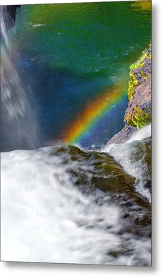 Rainbow By The Waterfall Metal Print by Ansel Price