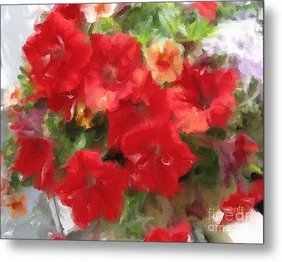 Metal Print featuring the mixed media  Red Petunia by Hai Pham