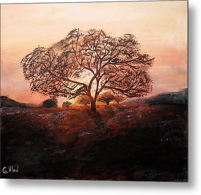 Red Tree Metal Print by Grigore Vlad