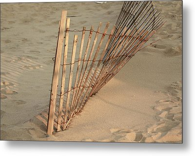Metal Print featuring the photograph  Sandy Beach Fence by Ann Murphy