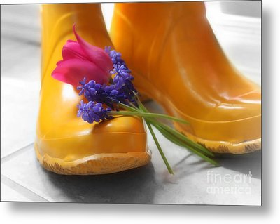 Metal Print featuring the photograph  Spring Boots by Cathy  Beharriell