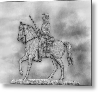 Stone Sentinel Gettysburg Battlefield Sketch Metal Print by Randy Steele