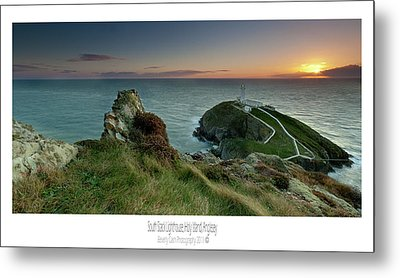 Metal Print featuring the photograph  Sunset At South Stack Lighthouse by Beverly Cash