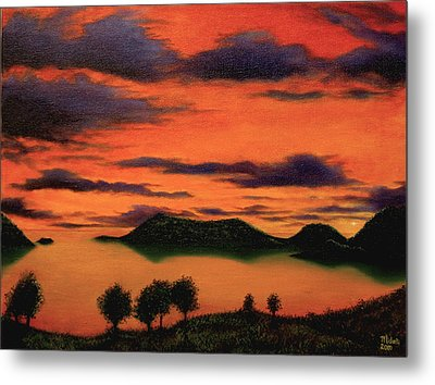 Sunset From Green Hill Thursday Island Metal Print by Joe Michelli