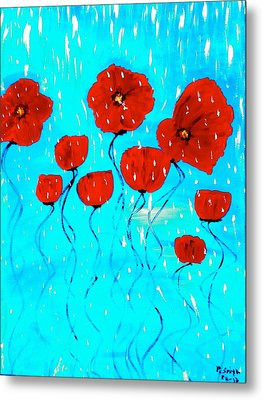 The Red Poppies Dancing In The Rain Metal Print by Pretchill Smith