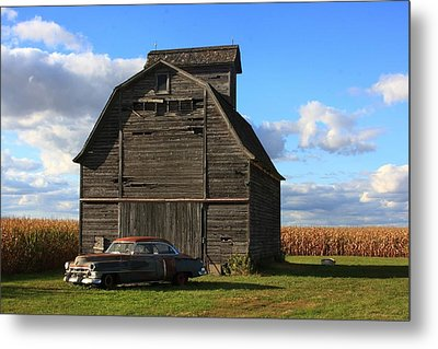 Vintage Cadillac And Barn Metal Print by Lyle Hatch