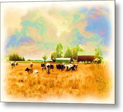 009 Cows In Back 40 - Oil Metal Print by Glen W Ferguson