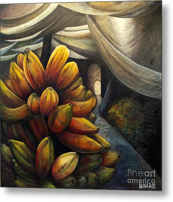Metal Print featuring the painting 01002 Banana Market by AnneKarin Glass