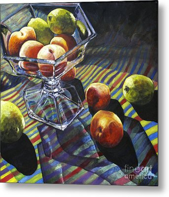 01083 Limes And Apricots Metal Print by AnneKarin Glass