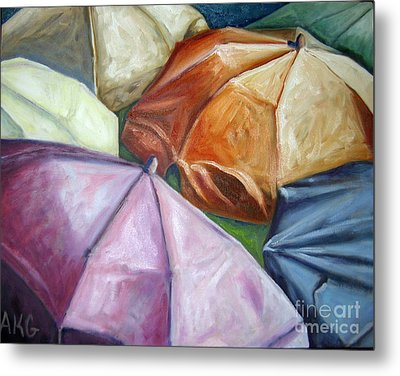 Metal Print featuring the painting 01132 Beach Umbrellas by AnneKarin Glass