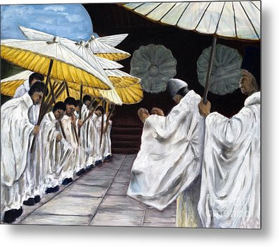 Metal Print featuring the painting 01148 Cermonial Umbrellas by AnneKarin Glass