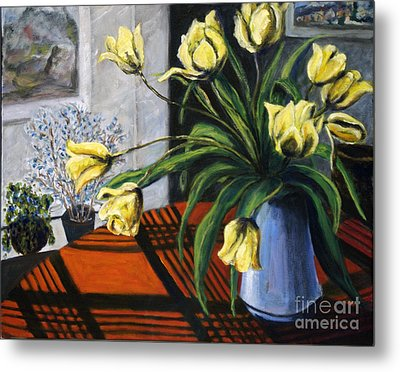 Metal Print featuring the painting 01218 Yellow Tulips by AnneKarin Glass
