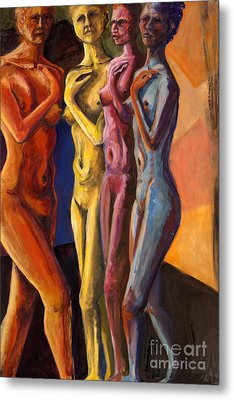 Metal Print featuring the painting 01249 Four Sister by AnneKarin Glass