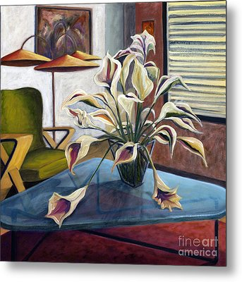 Metal Print featuring the painting 01254 Mid-century Modern by AnneKarin Glass