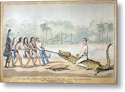 1826 Naturalist Charles Waterton & Caiman Metal Print by Paul D Stewart