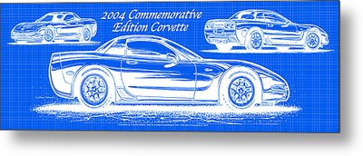 Metal Print featuring the drawing 2004 Commemorative Edition Corvette Blueprint by K Scott Teeters