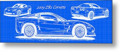 Metal Print featuring the drawing 2009 C6 Zr1 Corvette Blueprint by K Scott Teeters