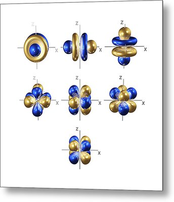4f Electron Orbitals, Cubic Set Metal Print by Dr Mark J. Winter