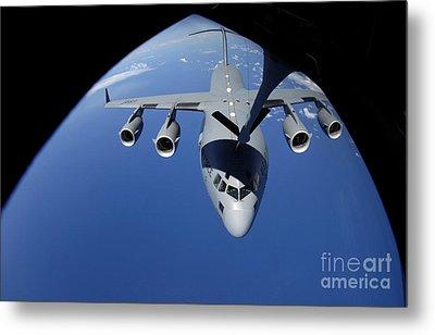 A C-17 Globemaster IIi Receives Fuel Metal Print by Stocktrek Images