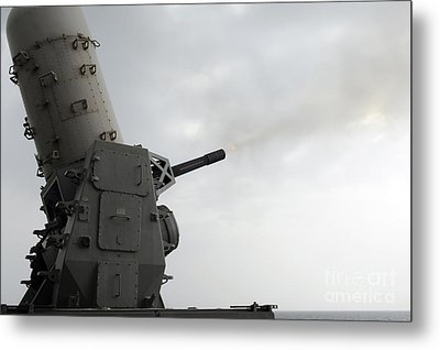 A Close-in Weapons System Is Fired Metal Print by Stocktrek Images