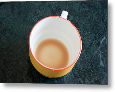 A Cup With The Remains Of Tea On A Green Table Metal Print by Ashish Agarwal