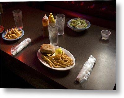 A Hamburger Lunch At A Restaurant Metal Print by Joel Sartore