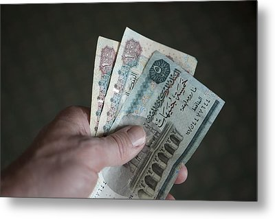 A Hand Holds Egyptian Pounds In Cash Metal Print by Taylor S. Kennedy