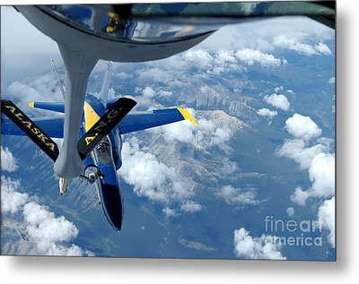 A Kc-135 Stratotanker Refuels An Fa-18 Metal Print by Stocktrek Images