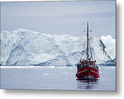 A Midnight Cruise Around The Ilulissat Metal Print by Axiom Photographic