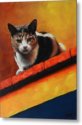 A Top Cat In The Shadow, Peru Impression Metal Print