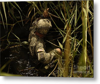 A U.s. Army Soldier Searches Metal Print